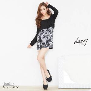 ドレス キャバドレス S Mサイズ ウエストリボン付薔薇柄長袖付きタイトミニドレス dazzy lounge 山野|dazzy