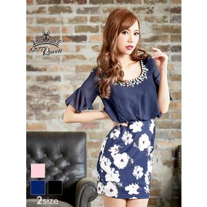 ドレス キャバ ワンピース 大きいサイズ SMLサイズ パール&ラインストーン&ビジュー付花柄シフォン袖付きタイトミニドレス|dazzy