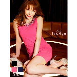 ドレス キャバ ワンピース 大きいサイズ SMLサイズ ネックラインビジューノースリタイトミニドレス キャバドレス 3/24再入荷|dazzy