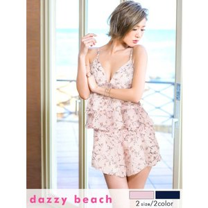送料無料 キャバドレス ワンピース ミニ S M サイズ 2ピース 花柄シフォンキャミソール タップパンツ dazzybeach 白 ピンク ビーチウェア|dazzy