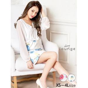ドレス キャバドレス ワンピース 大きいサイズ XS S M L LL 3L 4L 花柄シフォン長袖スリーブタイト ミニドレス dazzy lou|dazzy