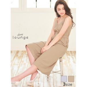ドレス キャバドレス ワンピース 大きいサイズ S M L サイズ ワントーンウエストリボン付オールインワンパンツドレス dazzy lounge|dazzy