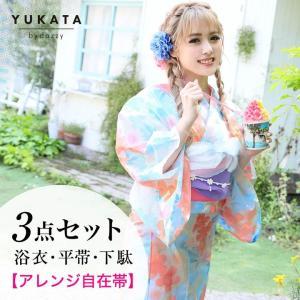送料無料 浴衣セット淡色桜柄  浴衣帯下駄3点セット/YUKATAbydazzy|dazzy