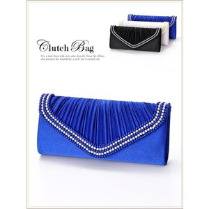 バッグ 2way パール × ラインストーン 付 プリーツ サテン クラッチ バッグ/ホワイト ブルー ブラック dazzy