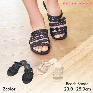 サンダル 靴 レディース ビーサン 大きいサイズ ワンカラーシンプルチェーン風フラットサンダル 黒 ベージュ 36 37 38 39 40 ぺたん|dazzy