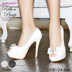 パンプス 靴 レディース キャバ 12cmヒール ビジュー モチーフ リボン オープントゥ パンプス 黒 白 シンプル 無地 厚底 キャバ 美脚 dazzy