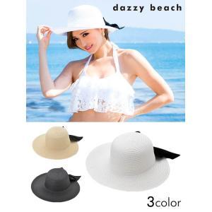 麦わら ぼうし リボン 付 フロント つば広 ハット/UV対策 紫外線対策 日差し対策 日焼け防止/アイボリー ベージュ ブラック/レディース 夏 リゾート 海|dazzy