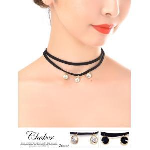 ネックレス ビジュー 付 チョーカー ネックレス/クリアー ブラック|dazzy