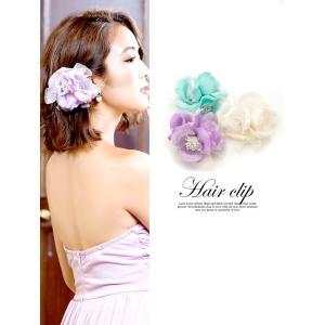 アクセサリー  フラワー ヘア クリップ アクセ/ヘッド ドレス  髪飾り 浴衣 キャバ/紫 緑 白|dazzy