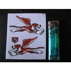 【ネコポス便発送可能】英国バイクステッカー Flying Tiger sticker 3inch (2枚1セット) #94 タイガー トライアンフ|dbms