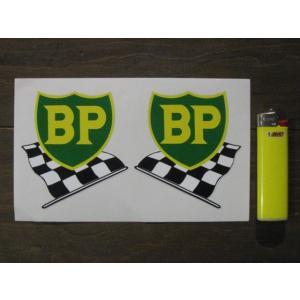 【ネコポス便発送可能】英国バイクステッカー BP '58 - '89 Shield & Chequered Flag Stickers #118 dbms