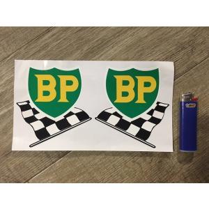 【ネコポス便発送可能】英国バイクステッカー BP '58 - '89 Shield & Chequered Flag with White Border Stickers100mm #120 dbms