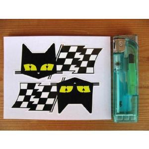 【ネコポス便発送可能】英国バイクステッカー SEV Marchal Le Mans 24 Hour Cat & Chequered Flag Sticker(2枚1セット) #44 dbms