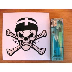 【ネコポス便発送可能】英国バイクステッカー Cornwall Cornish Flag Bandana Skull & Crossbone Sticker #61 スカル dbms