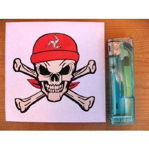 【ネコポス便発送可能】マン島ステッカー Isle of Man TT Bandana Skull & Crossbone Sticker #62 スカル|dbms