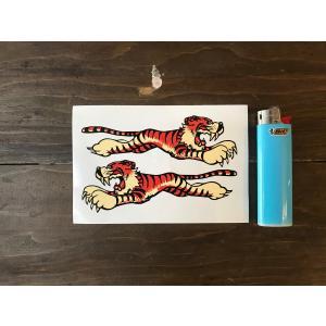 【ネコポス便発送可能】英国バイクステッカー Leaping Tiger Sticker 100mm (2枚1セット) #65 タイガー|dbms