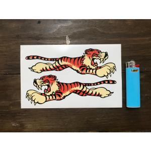 【ネコポス便発送可能】英国バイクステッカー Leaping Tiger Sticker 152mm (2枚1セット) #66 タイガー|dbms