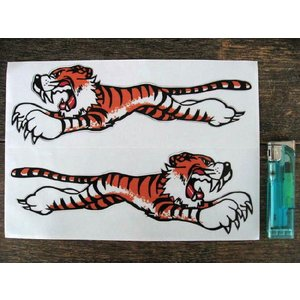【ネコポス便発送可能】英国バイクステッカー Leaping Tiger Sticker Clear 205mm (2枚1セット) #67 タイガー|dbms