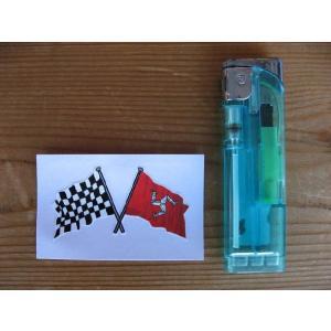 【ネコポス便発送可能】マン島ステッカー Isle of Man & Crossed Chequered Flag Sticker 50mm #82|dbms