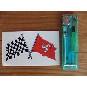 【ネコポス便発送可能】マン島ステッカー Isle of Man & Crossed Chequered Flag Sticker 75mm #83 英国輸入|dbms