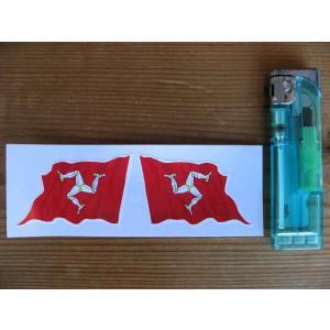 【ネコポス便発送可能】マン島ステッカー Isle of Man Wavy Flag Stickers 50mm (2枚1セット) #87 英国輸入|dbms