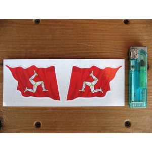 【ネコポス便発送可能】マン島ステッカー Isle of Man Wavy Flag Stickers 76mm (2枚1セット) #88 英国輸入|dbms