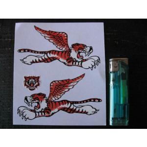 【ネコポス便発送可能】英国バイクステッカー Flying Tiger Sticker 4inch (2枚1セット) #95 タイガー トライアンフ|dbms