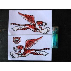 【ネコポス便発送可能】英国バイクステッカー Flying Tiger Sticker 6inch (2枚1セット) #96 タイガー トライアンフ|dbms