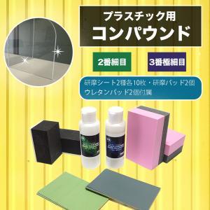 プラスチック磨きセット 研磨剤100g×2本(#2、#3)と研磨パッドとバフレックス研磨紙、アクリル・プラスチック・ポリカ用 dc-lab