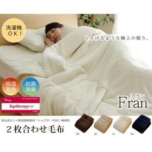イケヒコ・コーポレーション ダブル 洗える 2枚合わせ毛布 『17フランIT』/9808582 BR/約180×200cm dcmonline
