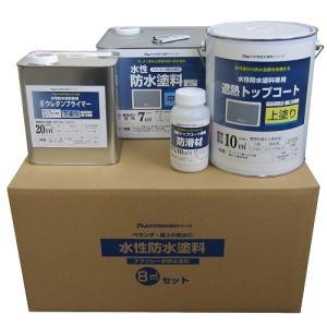 アトムハウスペイント 水性防水塗料8平方メートルセット 中塗りグレー/上塗り遮熱グレー/8m2セット|dcmonline
