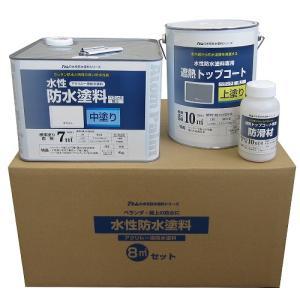 アトムハウスペイント 水性防水塗料8平方メートルセット 中塗りホワイト/上塗り遮熱グレー/8m2セット|dcmonline