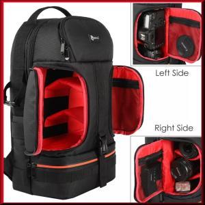 収納力抜群のバックパックリュックサックタイプのカメラ用バッグです。  バッグ中央の収納部分はウィング...