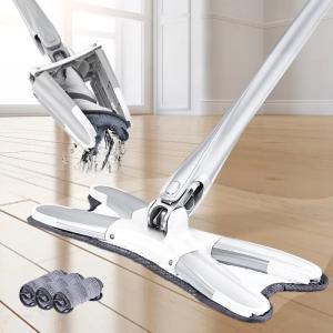 マイクロファイバーフロアモップ スティックのスライドでモップを絞る お部屋 廊下 会社 事務所 倉庫 フローリングなどの床掃除が快適で楽になる