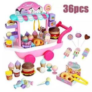 今日から街のアイスクリーム屋さん  ワゴンと一緒に街へ トロリーハウス 知育玩具 ソフトクリーム おもちゃのワゴン車