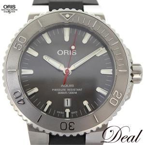 オリス アクイス デイト レリーフ 733 7730 4153R メンズ 腕時計 美品