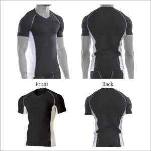 Vネック ストレッチ 半袖 インナーシャツ メンズ レディース|dealmarket|02