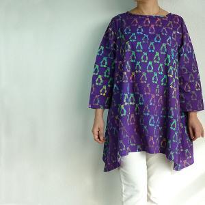 チュニック 7分袖 七分袖 ゆったり 40代 50代 60代 ワンピース レディース ファッション 女性ミセス 秋 冬 春 綿パープル紫系ペンギン柄A01 母の日|dear-u
