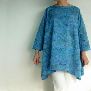 チュニック 7分袖 七分袖 ゆったり 40代 50代 60代 ワンピース レディース ファッション 女性ミセス 春 夏 秋 綿ブルー水色系柄A01 母の日|dear-u