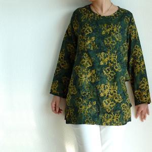 チュニック 長袖 ゆったり 40代 50代 60代 ワンピース レディース ファッション 女性ミセス 秋 冬 春 レーヨン グリーン緑系柄A05 母の日|dear-u