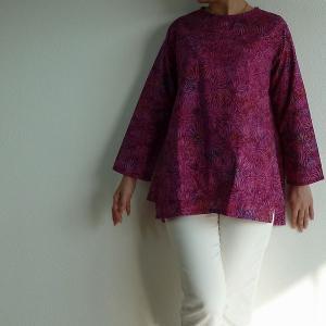 チュニック 長袖 ゆったり 40代 50代 60代 ワンピース レディース ファッション 女性ミセス 秋 冬 春 綿パープル赤紫系柄A05 母の日|dear-u