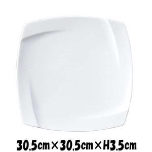 OBI 30cmプレート 深山(ミヤマ)ブランド 白い陶器磁器の食器 おしゃれな業務用洋食器 スクエアプレート お皿特大皿平皿|deardishbasara
