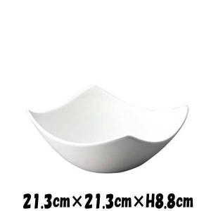 Bowls 21cmスクエアボール 白い陶器磁器の食器 おしゃれな業務用洋食器 スクエア お皿大皿深皿|deardishbasara