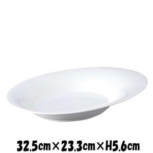 Plates 32.5cmオーバルボウル 白い陶器磁器の食器 おしゃれな業務用洋食器 お皿特大皿深皿|deardishbasara