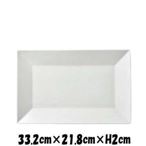 PureWhite 33cm長角プレート 白い陶器磁器の食器 おしゃれな業務用洋食器 スクエアプレート お皿特大皿平皿|deardishbasara