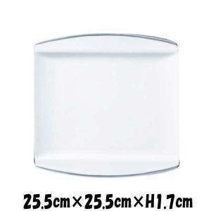 Axia 25.5cm正角皿PT プラチナライン 白い陶器磁器の食器 おしゃれな業務用洋食器 スクエアプレート お皿大皿平皿|deardishbasara