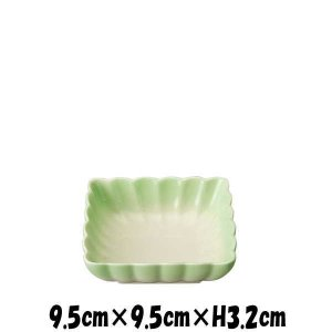 アウトレット商品 9.5cm角菊鉢GR 緑 陶器磁器の食器 おしゃれな業務用和食器 スクエア お皿小皿深皿|deardishbasara
