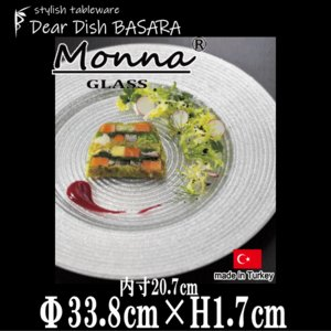 monnaチャージプレートSLV シルバー 銀色のガラスの食器 おしゃれな業務用洋食器 お皿特大平皿
