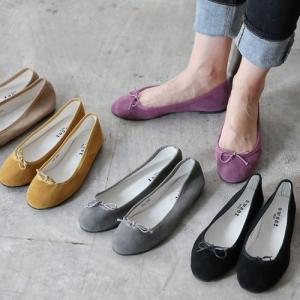 フラットシューズ パンプス リボン レディース バレエシューズ スエード  ぺたんこ ペタンコ 靴 婦人靴 黒 ブラック|deciliter