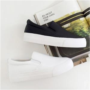 スリッポン レディース ブラック ホワイト シンプル ミニマル 靴 婦人靴 レディースシューズ レディースファッション|deciliter